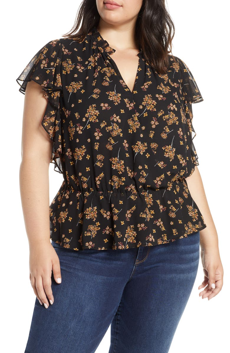 1.STATE Floral Print Faux Wrap Top, Main, color, 001