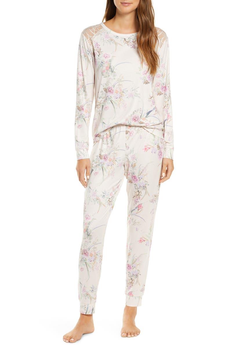 FLORA NIKROOZ Jasmine Floral Pajamas, Main, color, BEIGE