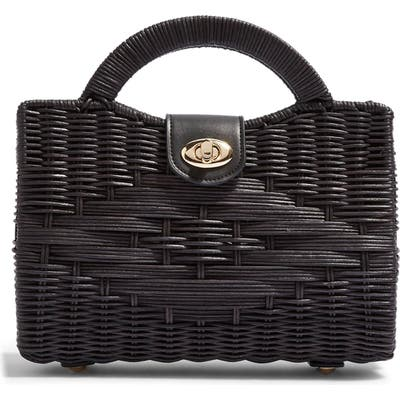 Topshop Saffi Woven Wicker Top Handle Bag - Black