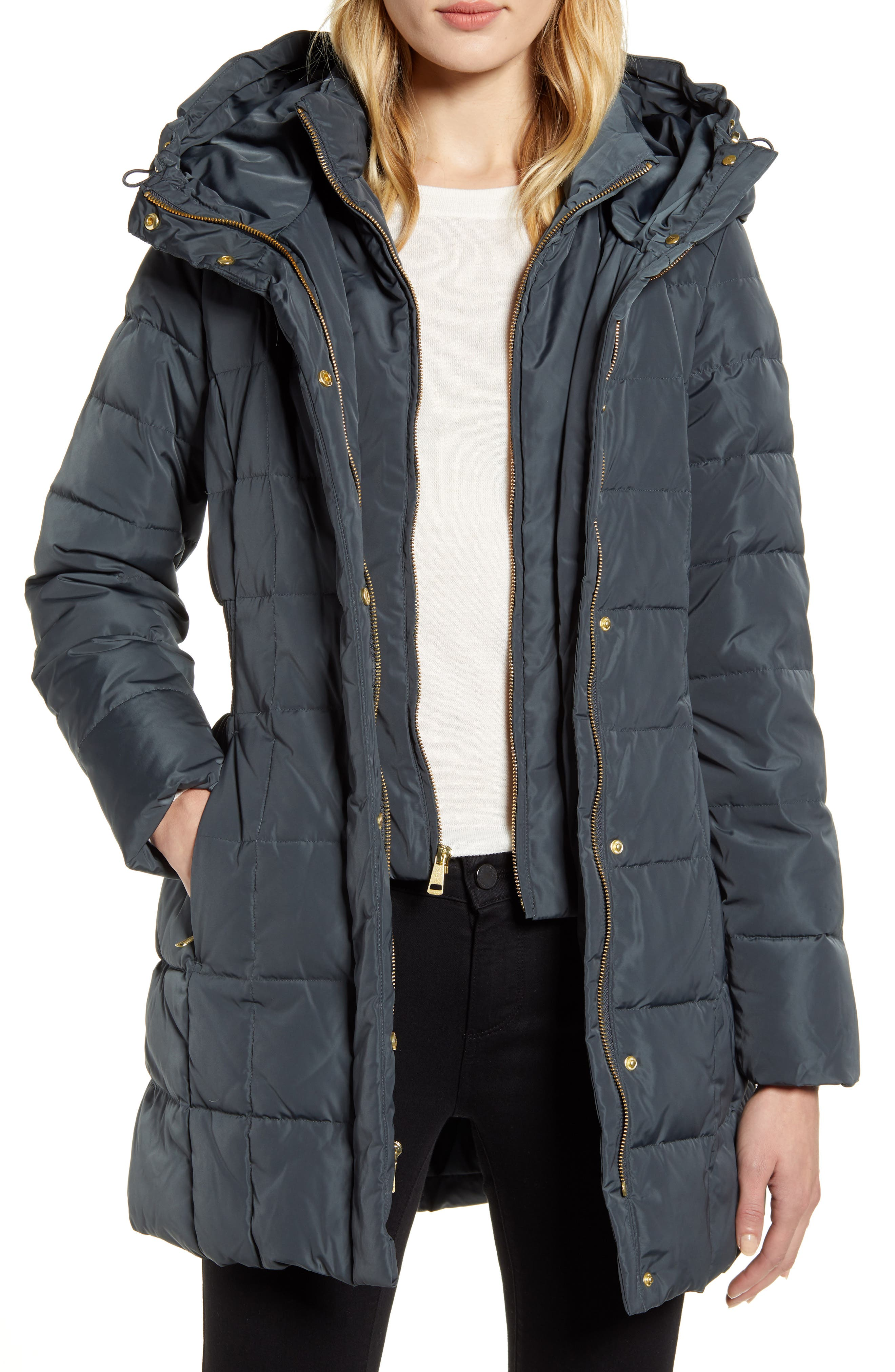 Cole Haan Hooded Down & Feather Jacket (Regular & Petite)