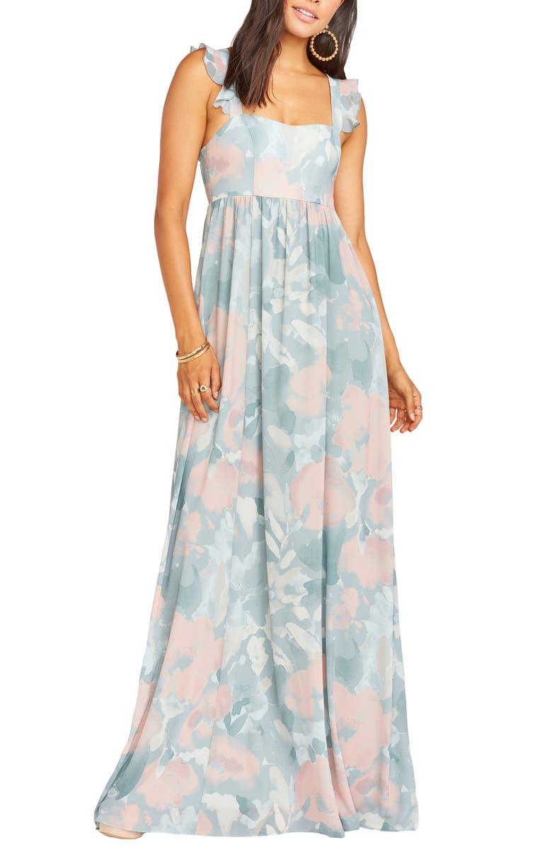 SHOW ME YOUR MUMU June Floral Print Ruffle Strap Gown, Main, color, SAGE I DO FLORAL