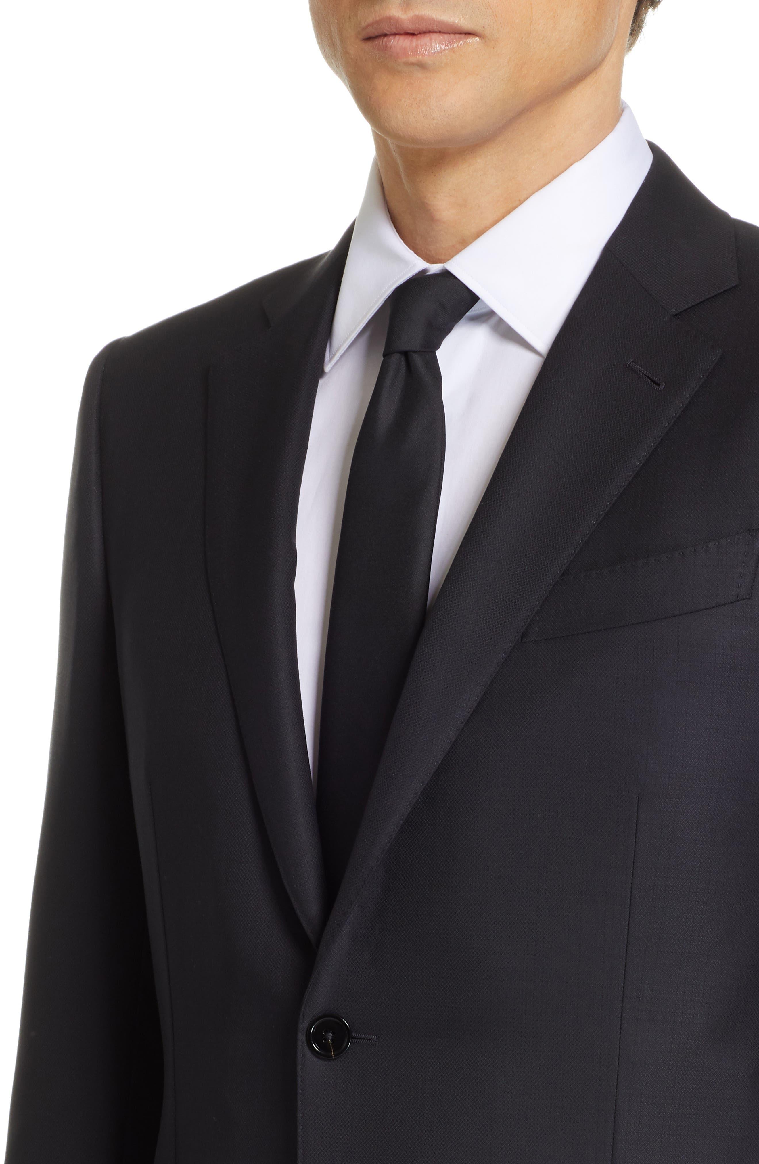 ,                             Classic Fit Plaid Wool Suit,                             Alternate thumbnail 4, color,                             BLACK