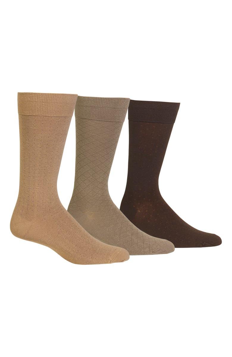 POLO RALPH LAUREN Dress Socks, Main, color, KHAKI/ GREY TAUPE/ DARK BROWN