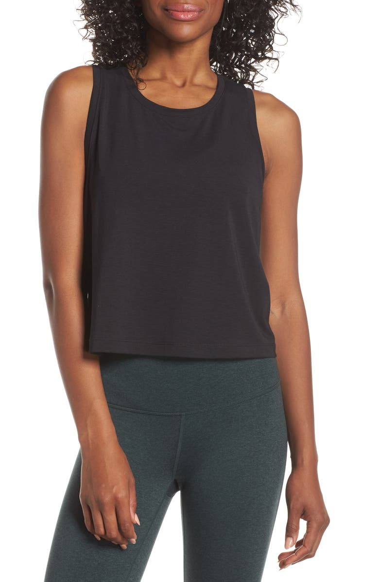 ZELLA Work For It Tank Top, Main, color, BLACK