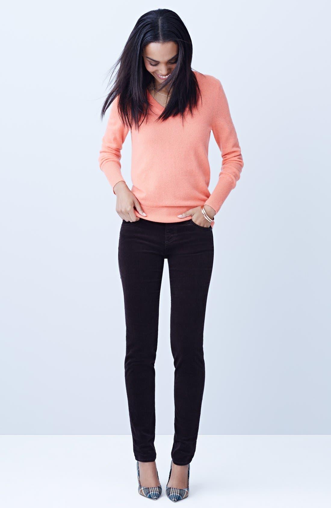 ,                             Cashmere V-Neck Sweater,                             Alternate thumbnail 4, color,                             001