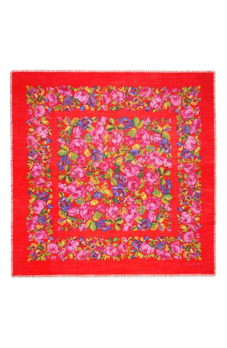 GUCCI Raquel Floral Silk & Wool Shawl, Main, color, RED/ PINK