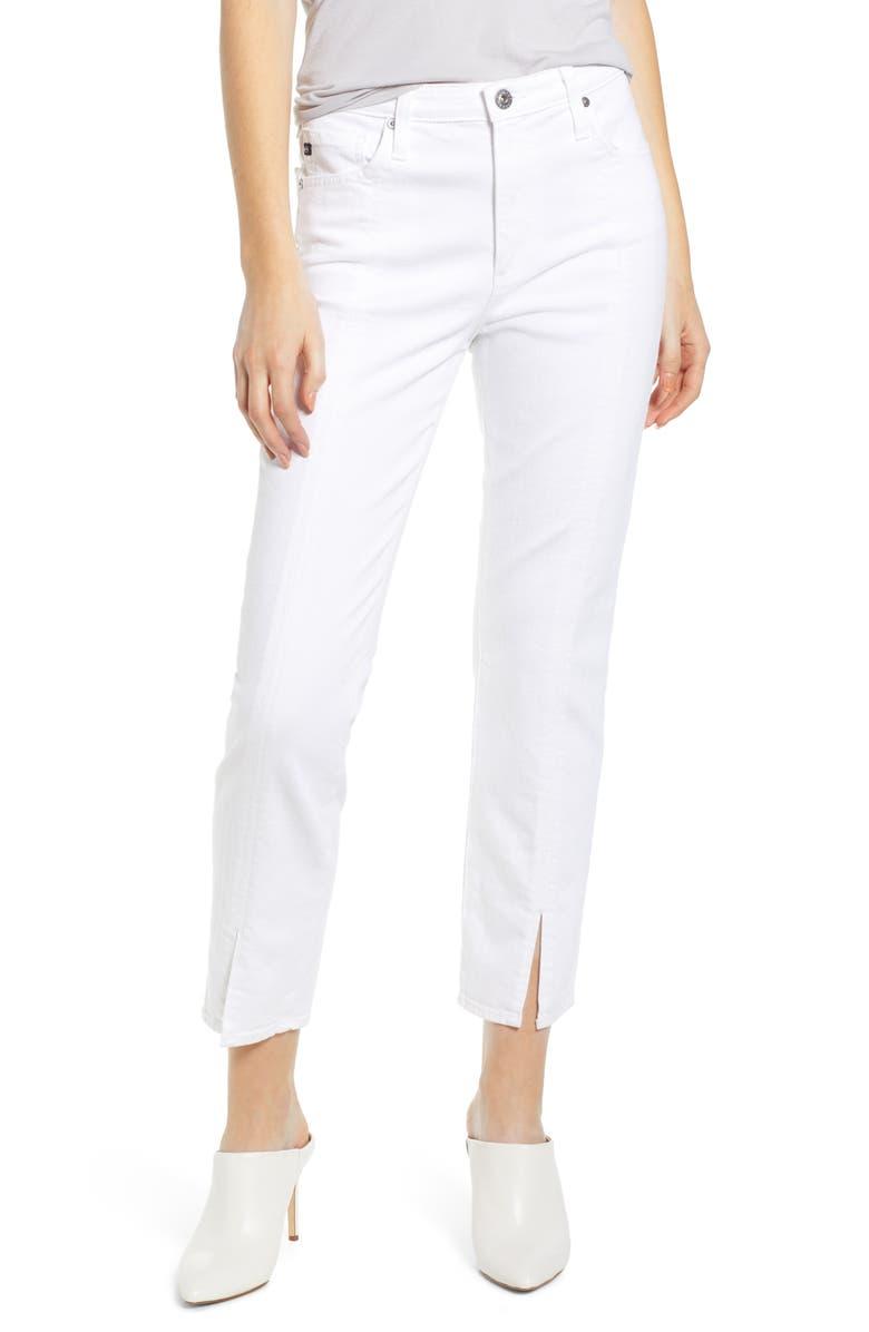 4909db96d40b The Isabelle High Waist Split Hem Ankle Straight Leg Jeans, Main, color,  WHITE