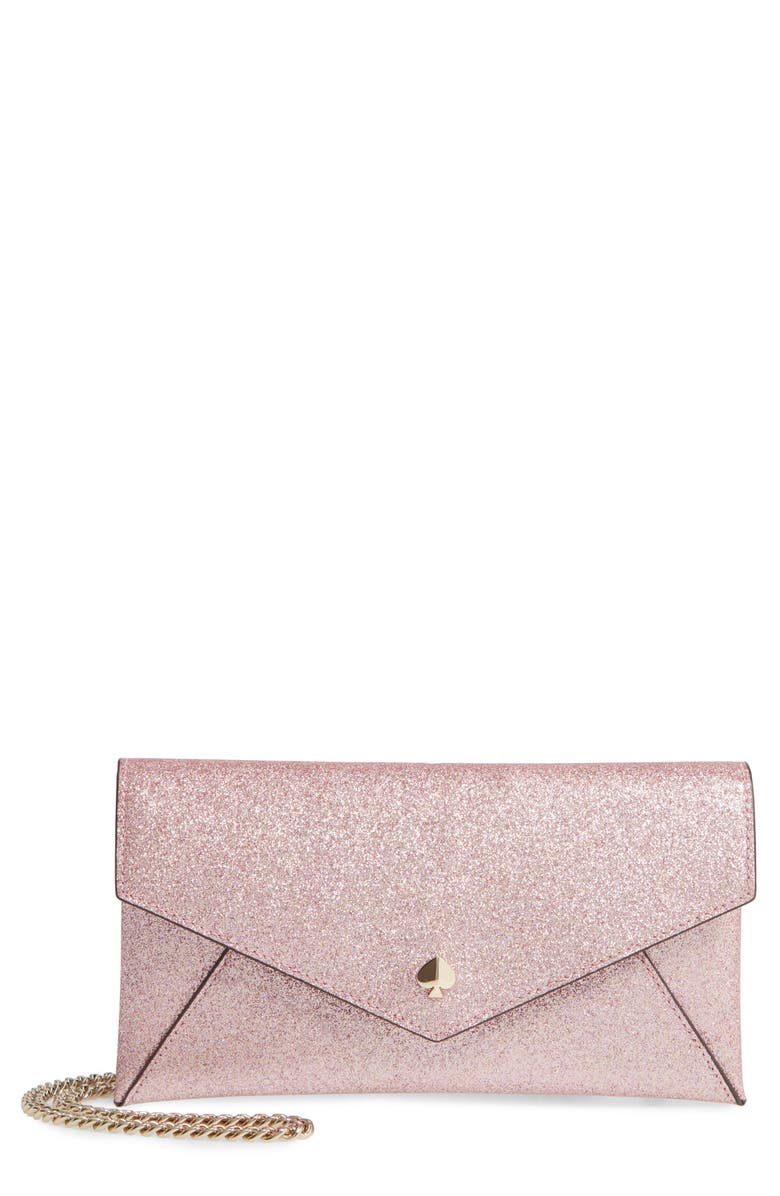 KATE SPADE NEW YORK burgess court - glitter leather crossbody clutch, Main, color, ROSE GOLD
