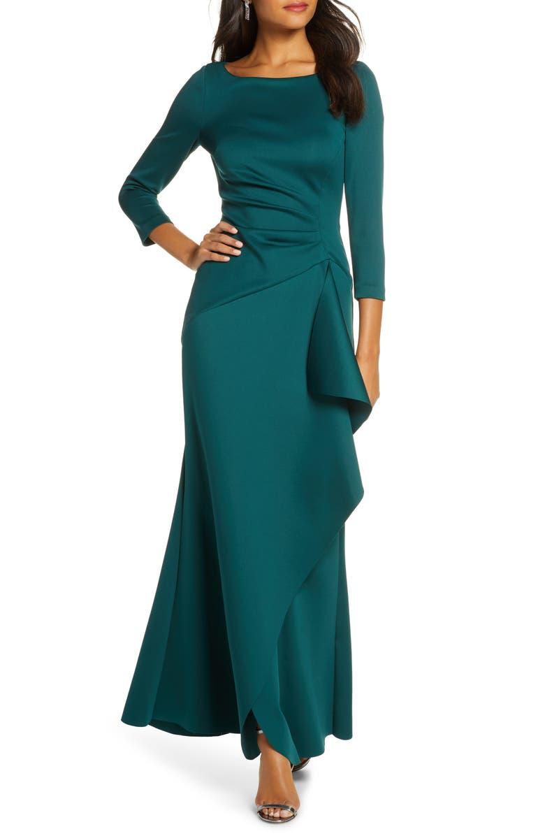 ELIZA J Techno Scuba Pleat Evening Dress, Main, color, HUNTER