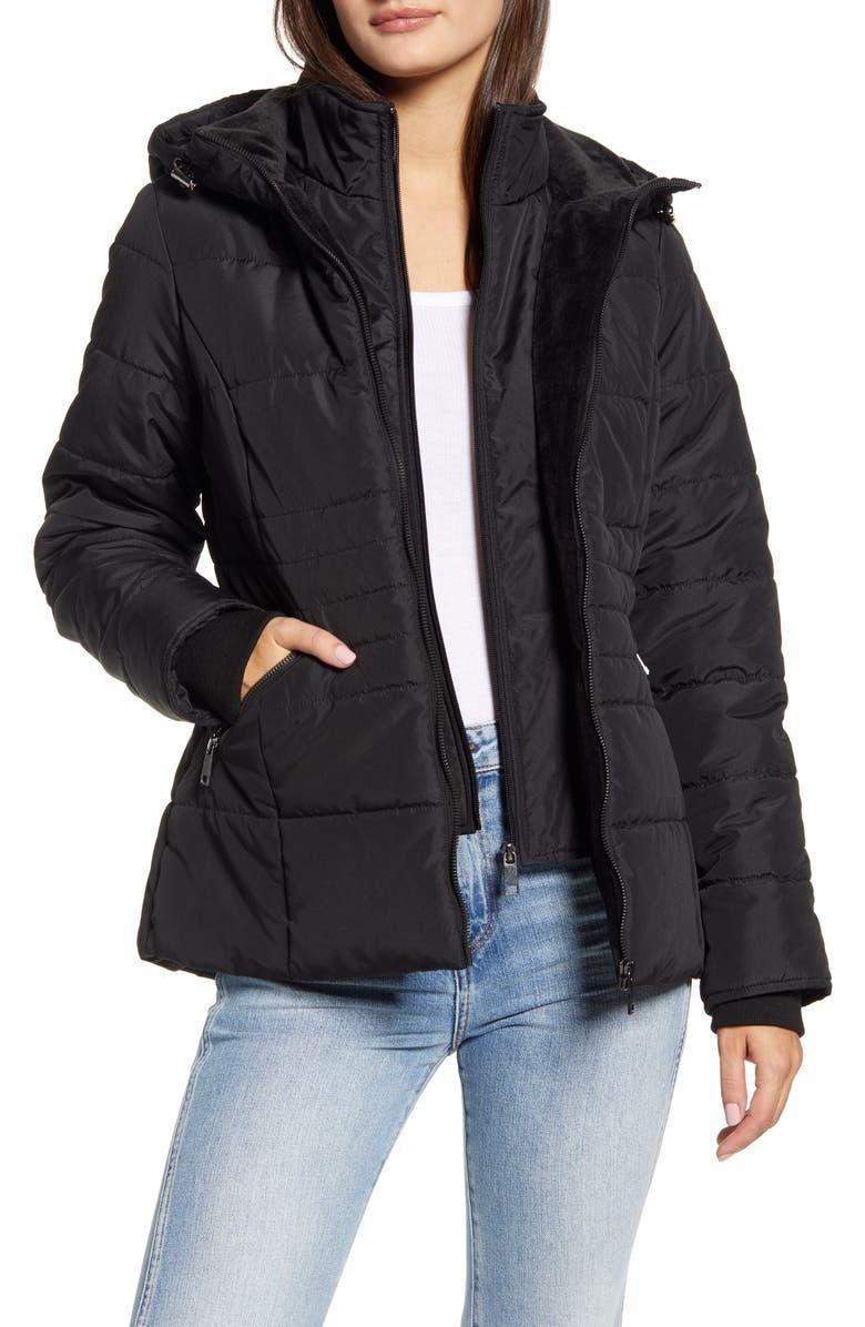 MARALYN & ME Hooded Puffer Jacket, Main, color, BLACK