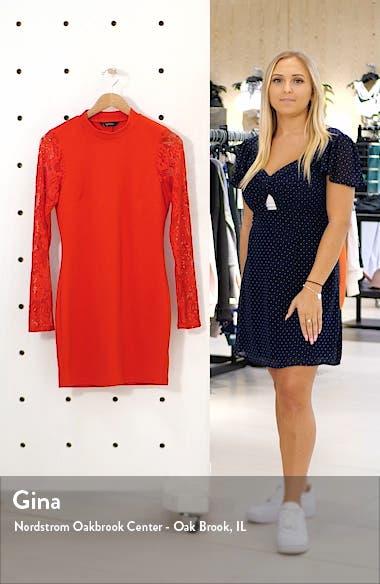 Lace Sleeve Scuba Crepe Body-Con Dress, sales video thumbnail