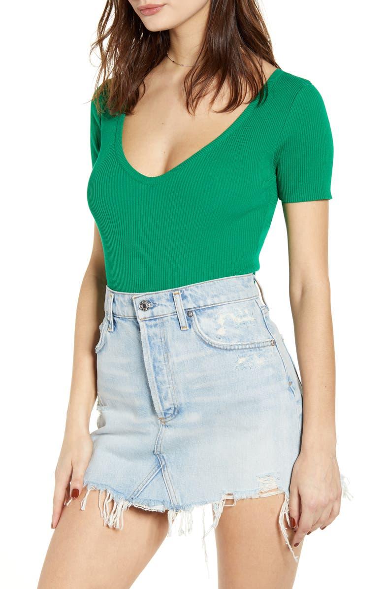 J.O.A. V-Neck Bodysuit, Main, color, KELLY GREEN