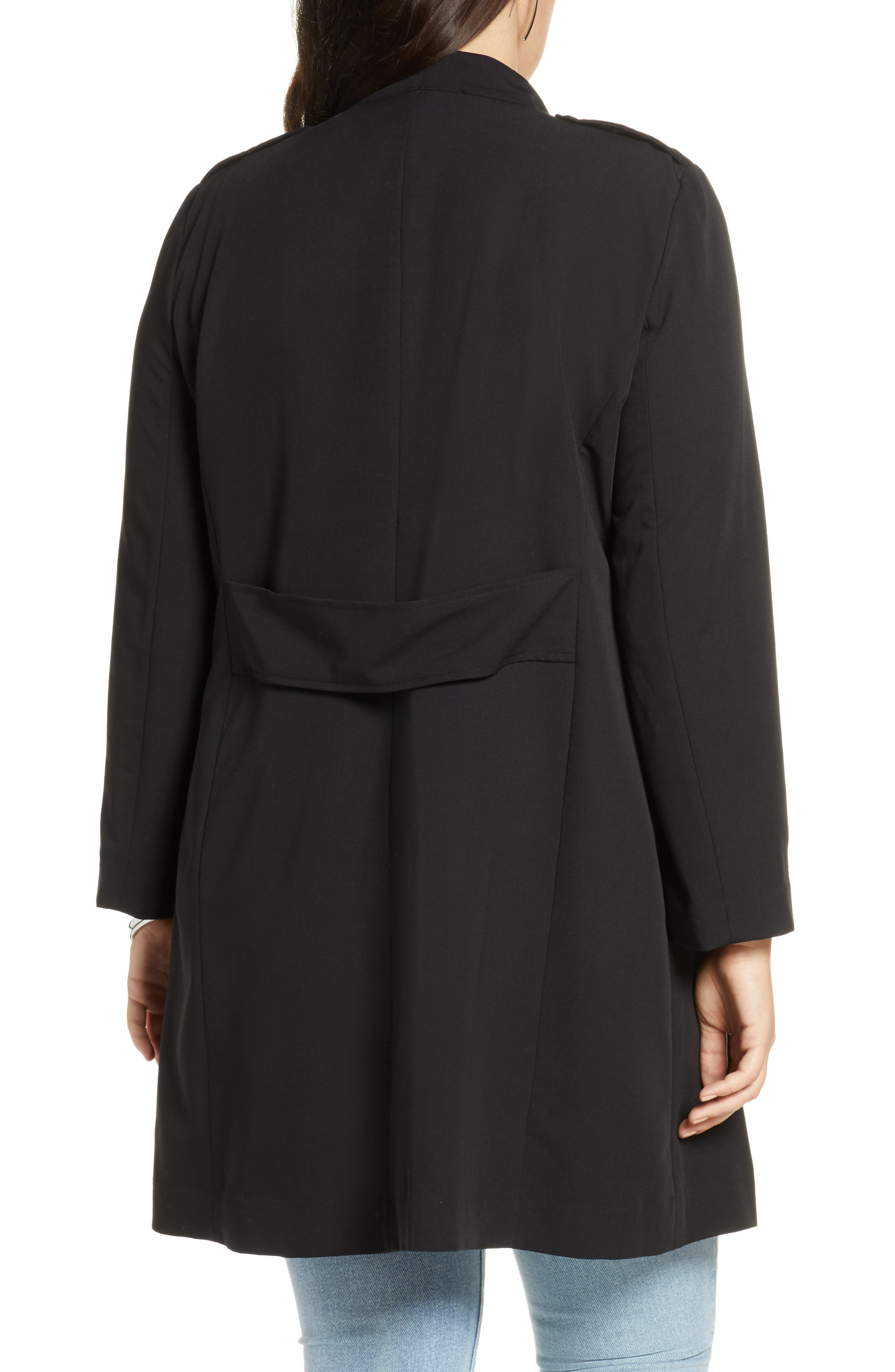 ,                             Drape Front Lightweight Jacket,                             Alternate thumbnail 4, color,                             BLACK