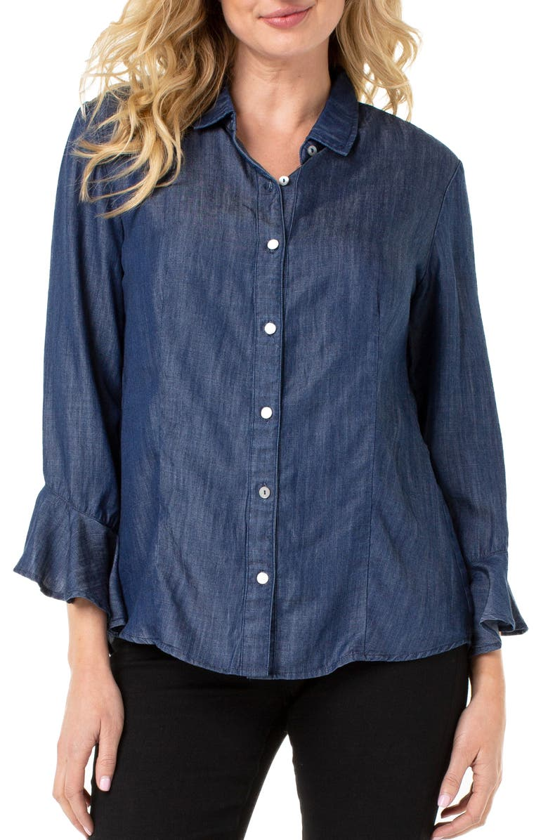 LIVERPOOL Button Front Ruffle Sleeve Shirt, Main, color, UPTOWN RINSE
