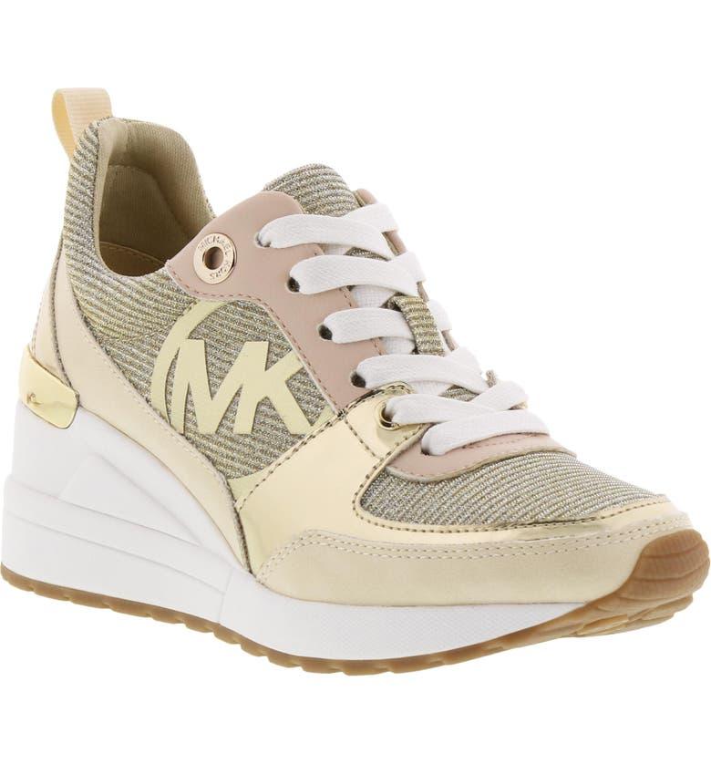 MICHAEL MICHAEL KORS Neo Aster Wedge Sneaker, Main, color, LIGHT CREAM