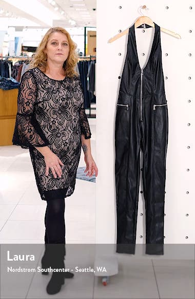 Plunge Neck Open Back Faux Leather Jumpsuit, sales video thumbnail