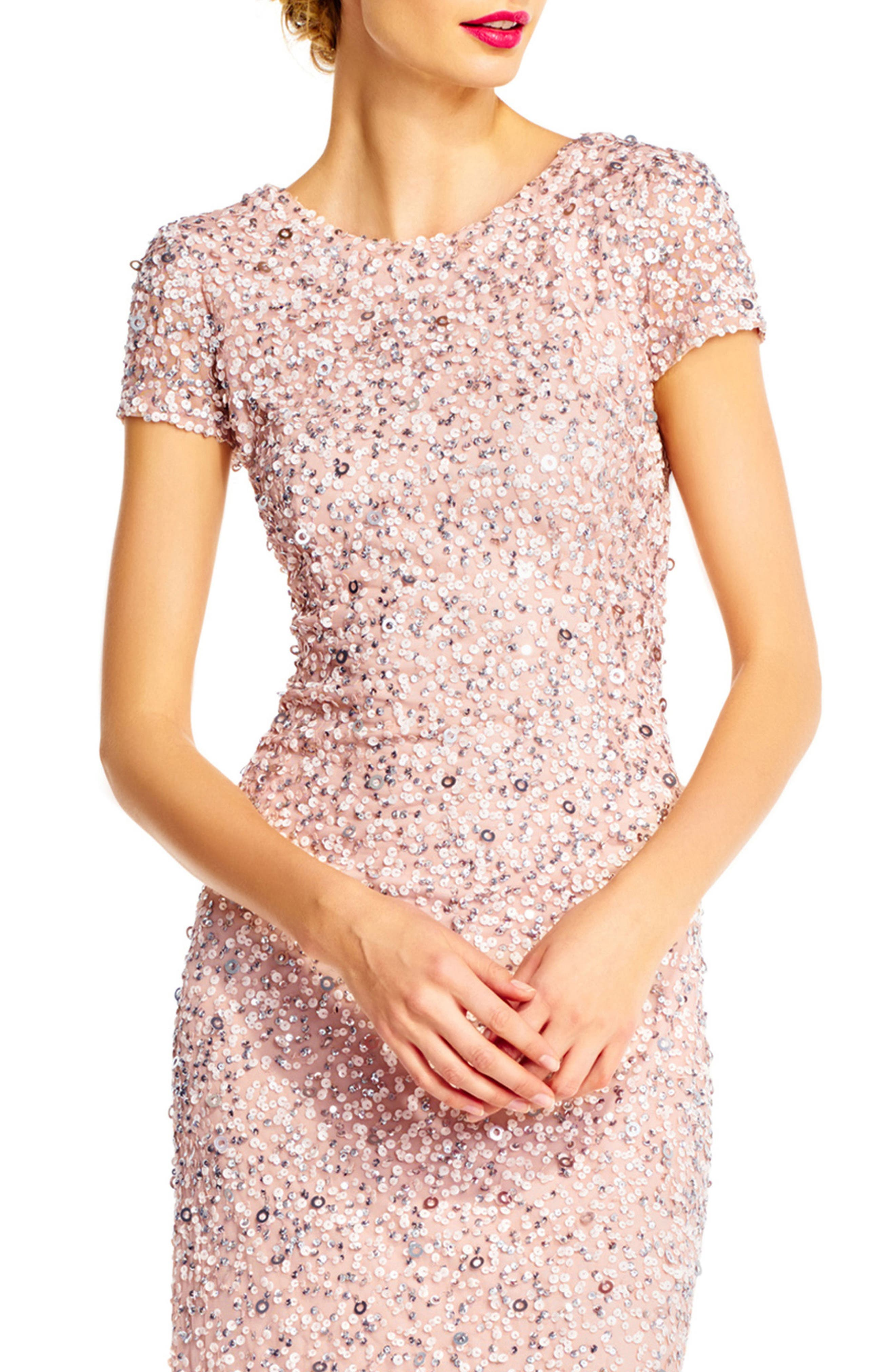 ,                             Short Sleeve Sequin Mesh Gown,                             Alternate thumbnail 19, color,                             250
