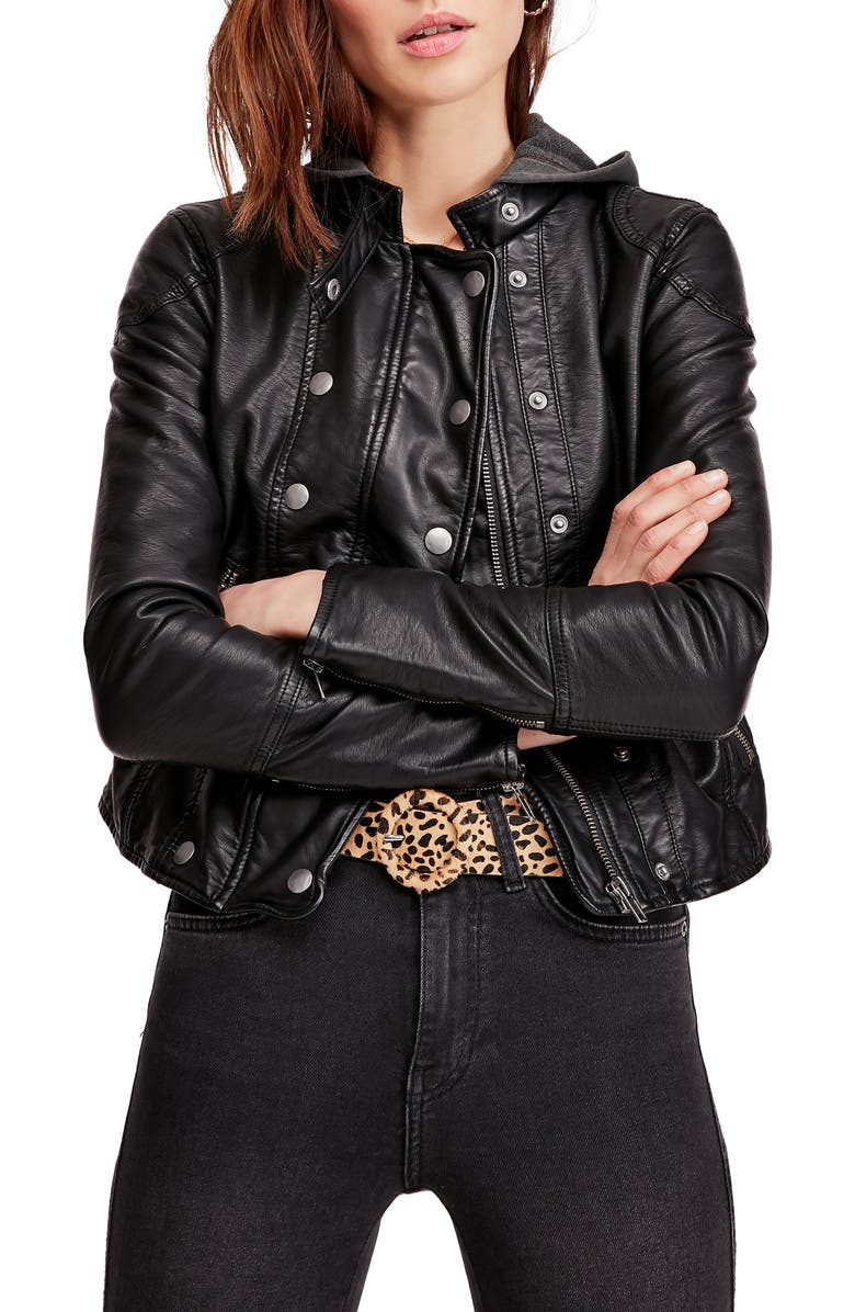 FREE PEOPLE New Dawn Hooded Faux Leather Jacket, Main, color, BLACK