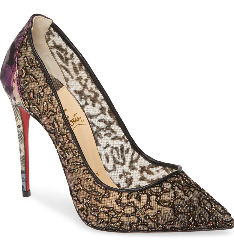 CHRISTIAN LOUBOUTIN Follies Glitter Mesh Pump, Main, color, ROCHE GLITTER