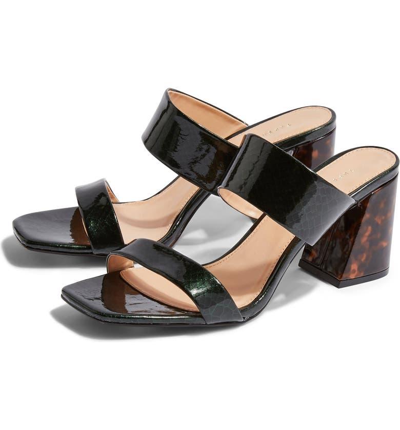 TOPSHOP Selina Tortoiseshell Heel Slide Sandal, Main, color, GREEN MULTI