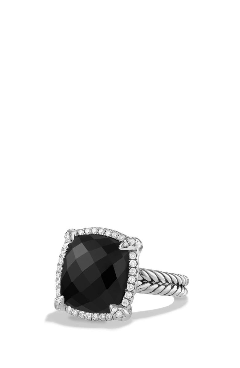 DAVID YURMAN 'Châtelaine' Large Pavé Bezel Ring with Diamonds, Main, color, BLACK ONYX