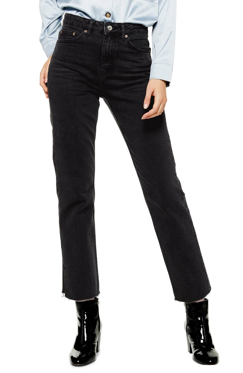 TOPSHOP High Waist Split Hem Straight Leg Jeans, Main, color, WASHED BLACK