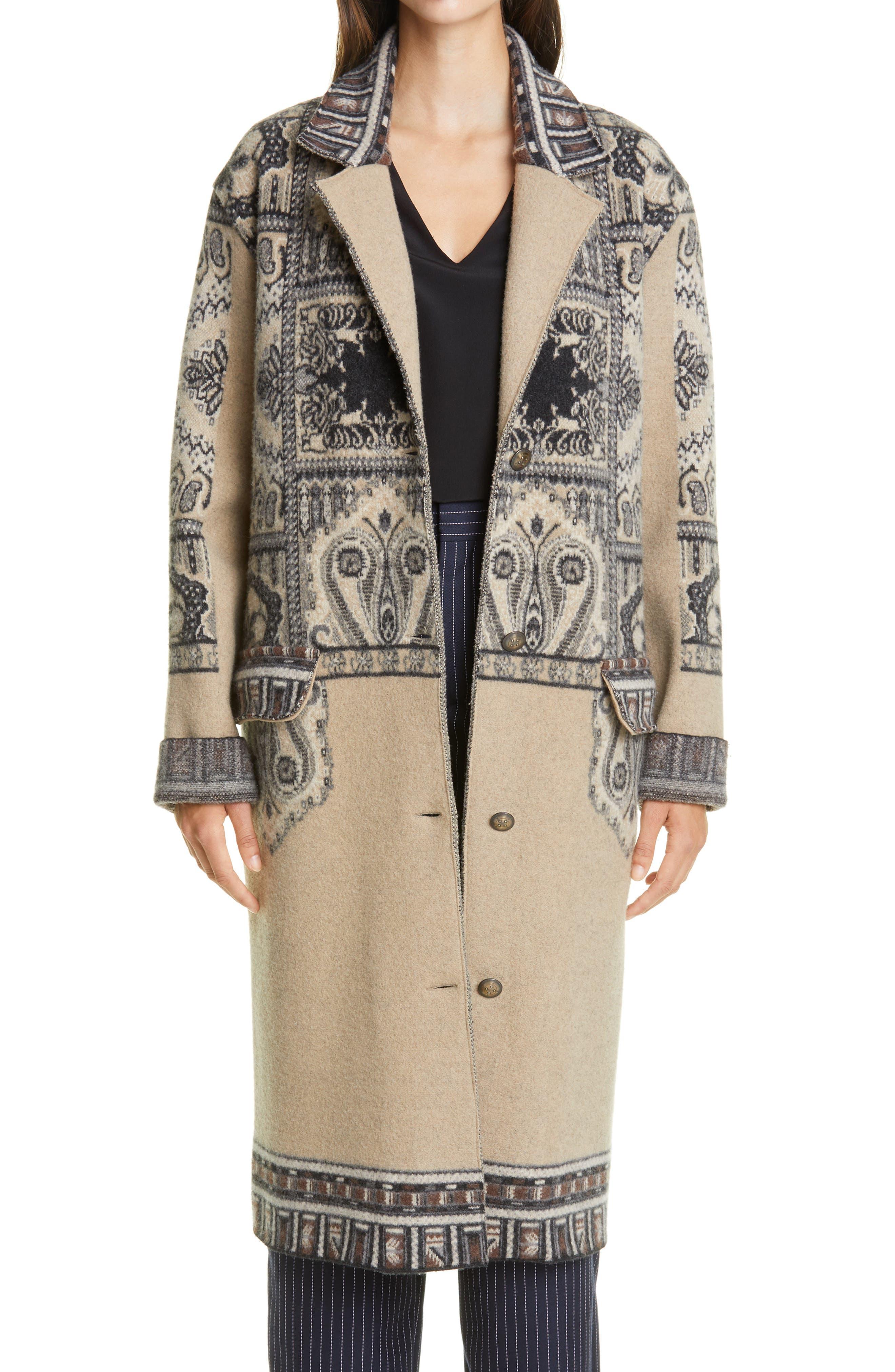 1920s Coats, Flapper Coats, 20s Jackets Womens Etro Print Wool Three-Quarter Coat Size 6 US - Beige $2,720.00 AT vintagedancer.com