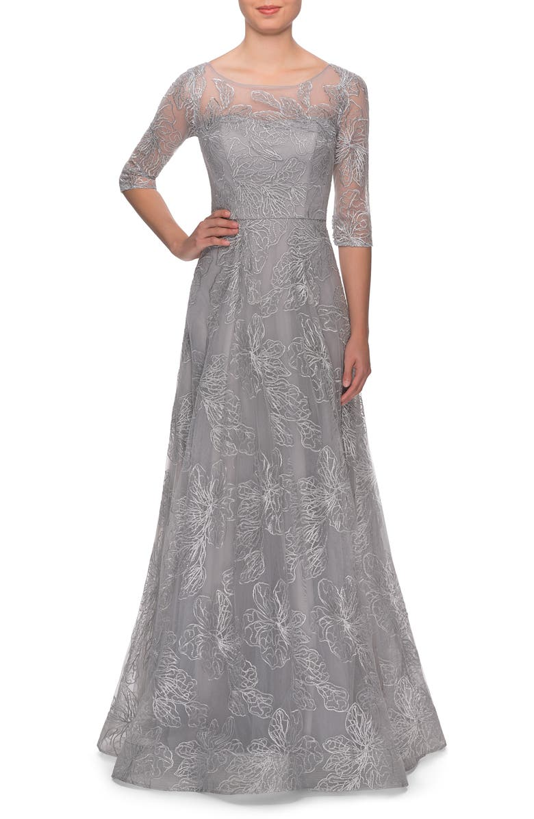 LA FEMME Sequin Embroidered A-Line Gown, Main, color, SILVER