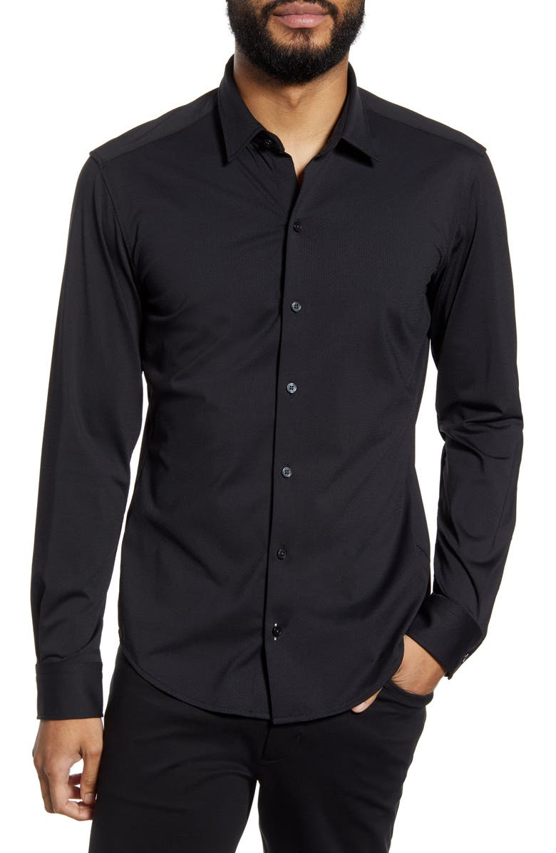 BOSS Robbie Solid Slim Fit Performance Button-Up Shirt, Main, color, 001