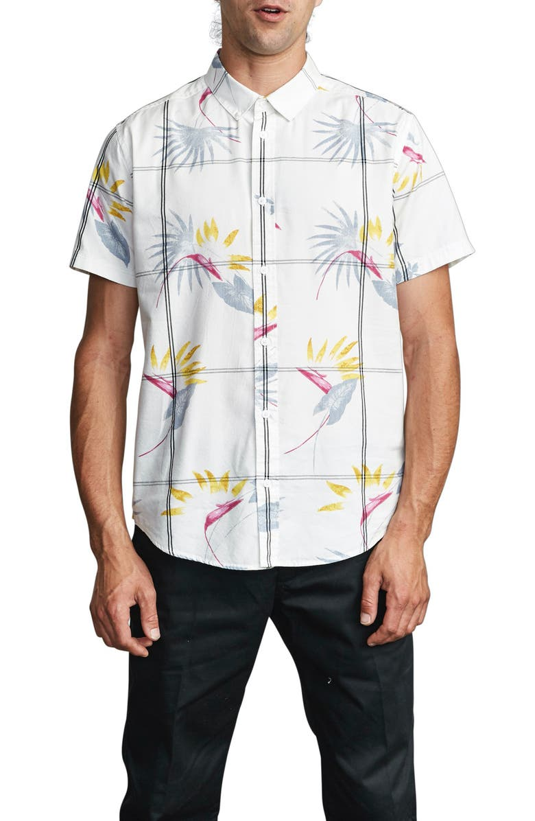 RVCA Fillmore Floral Short Sleeve Button-Up Shirt, Main, color, 100