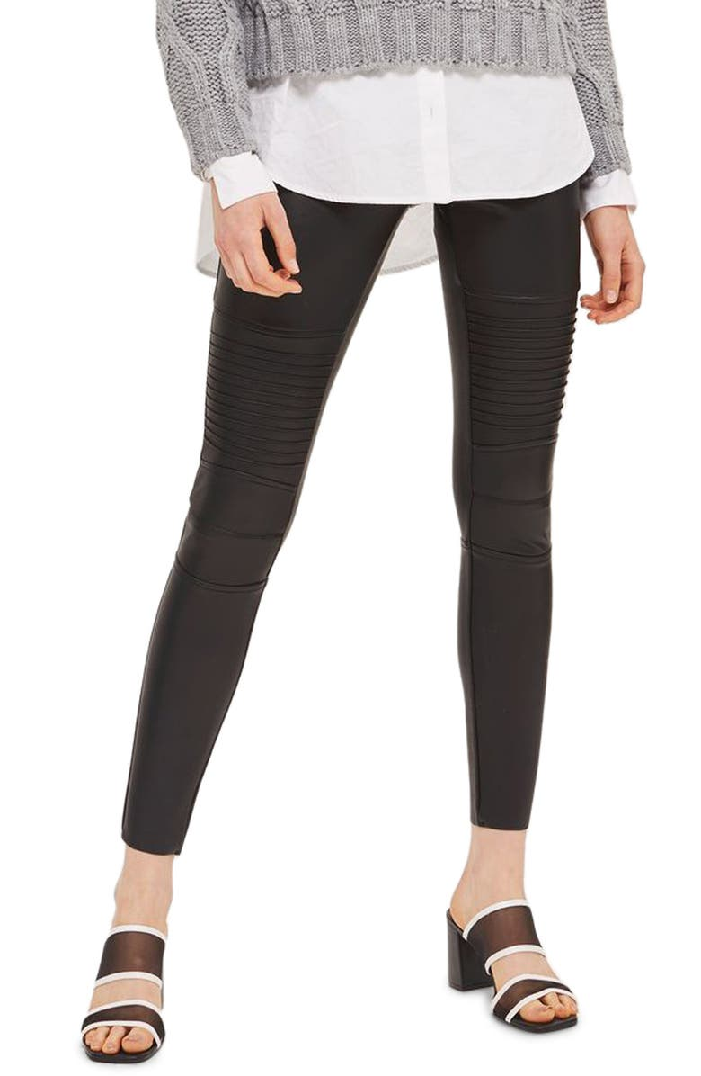 TOPSHOP Skinny Faux Leather Biker Pants, Main, color, 001