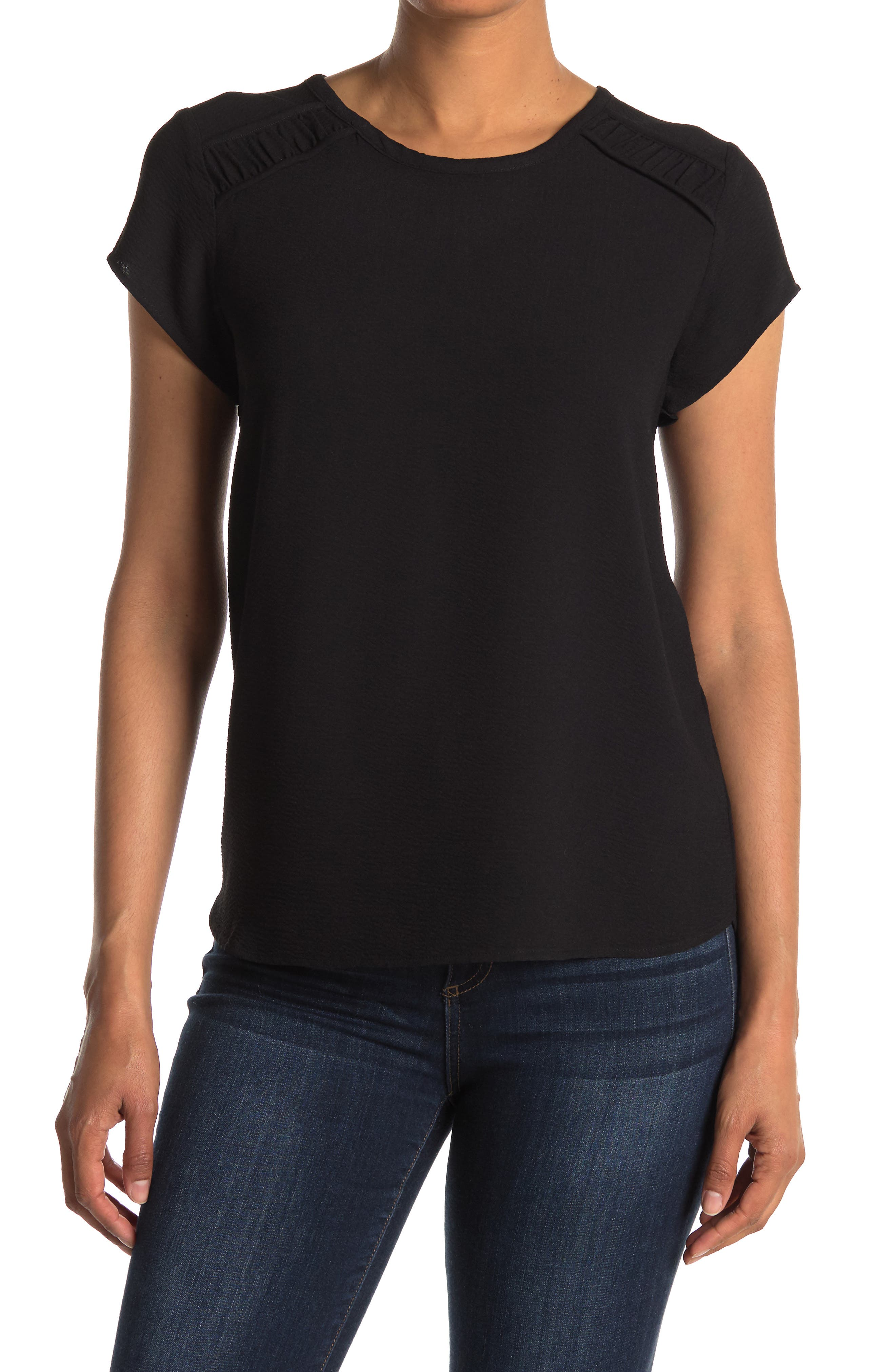 Image of Pleione Ruched Short Sleeve Blouse
