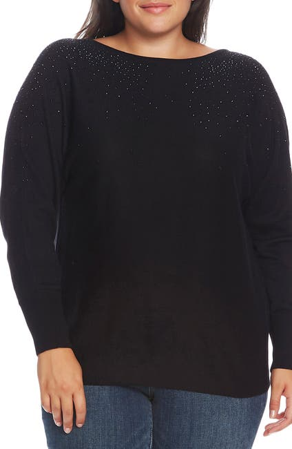 Image of Vince Camuto Embellished V-Back Sweater