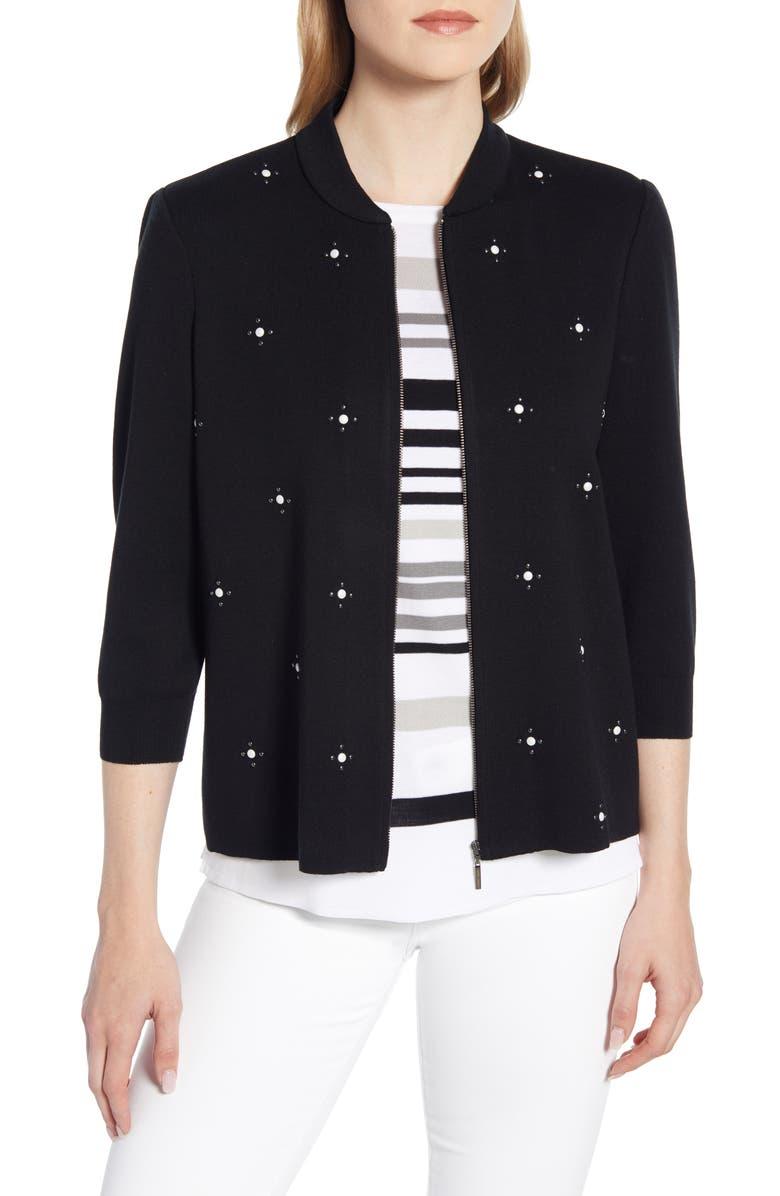 MING WANG Embellished Knit Jacket, Main, color, BLACK/ WHITE