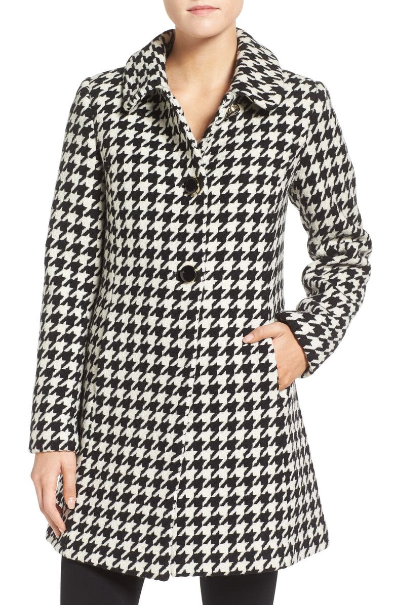 KATE SPADE NEW YORK houndstooth wool blend coat, Main, color, 001