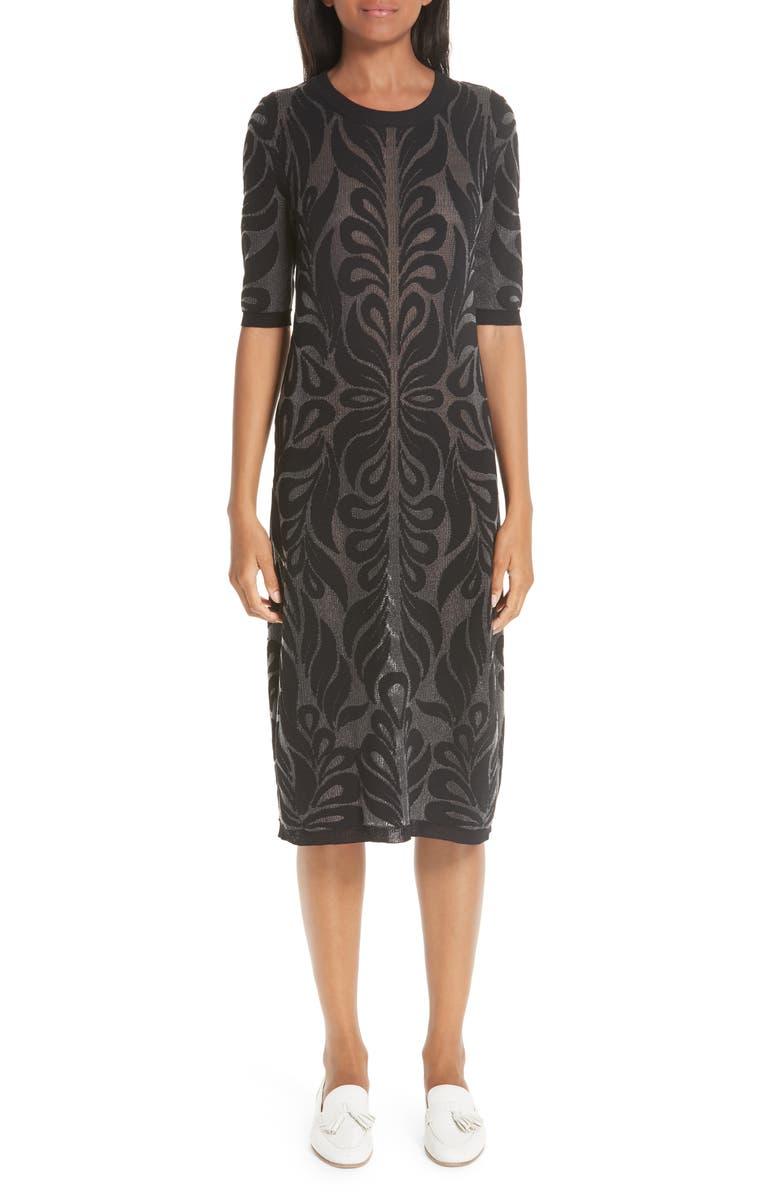 PARTOW Intarsia Knit Wool Midi Dress, Main, color, 001