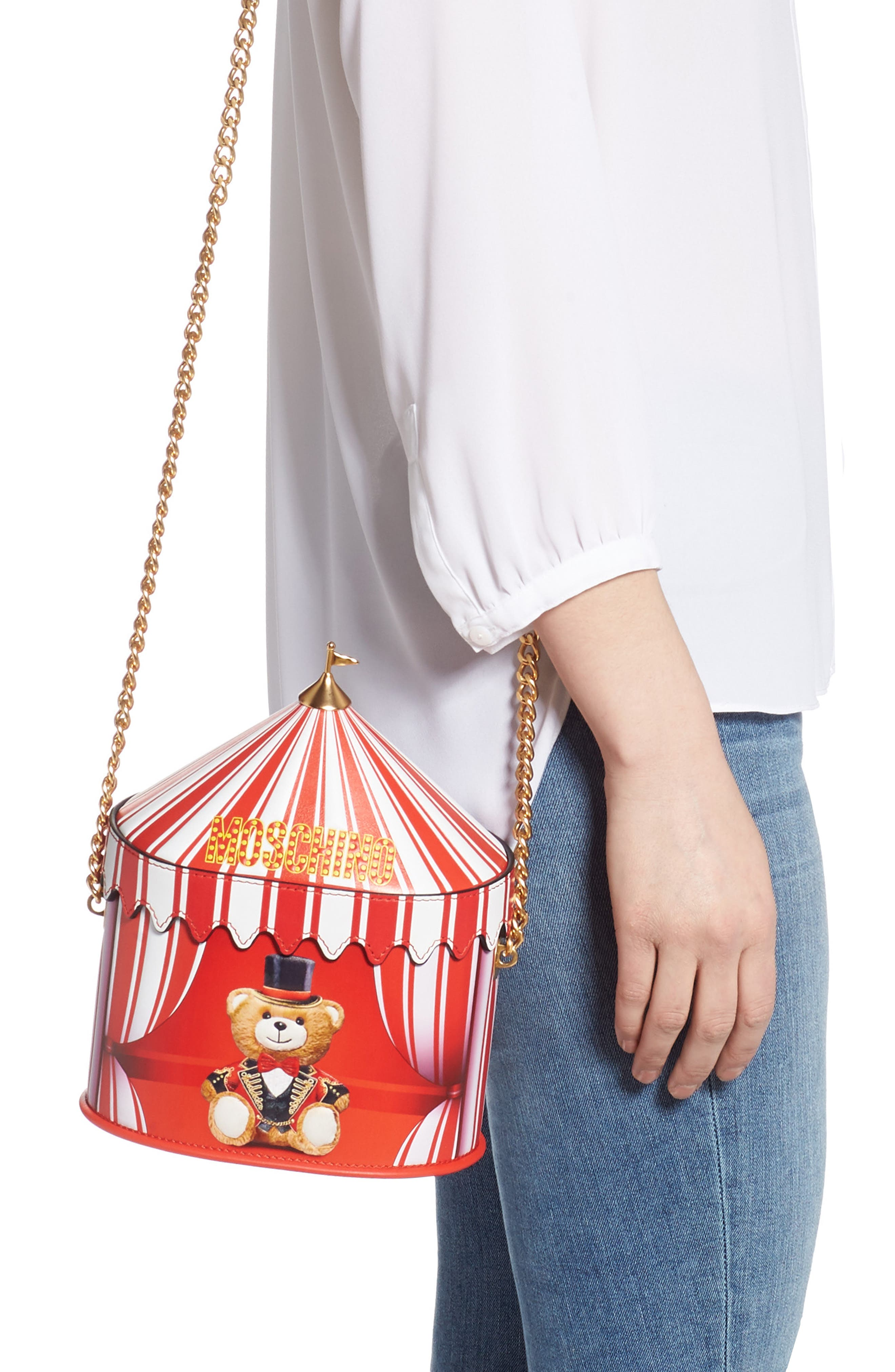 ,                             Circus Tent Leather Shoulder Bag,                             Alternate thumbnail 2, color,                             RED MULTI