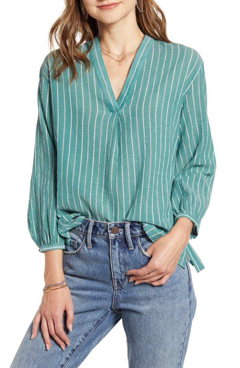 TREASURE & BOND Stripe Popover Shirt, Main, color, GREEN LARCH STRIPE