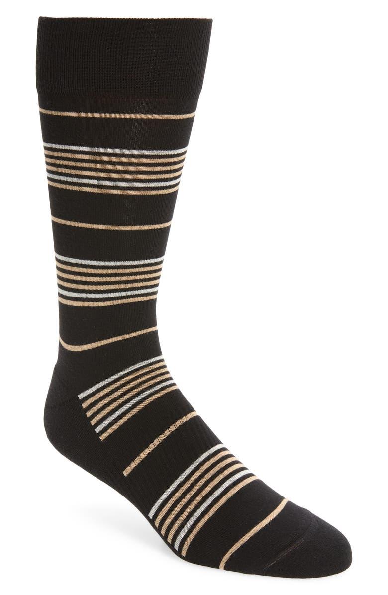 NORDSTROM MEN'S SHOP Prep Stripe Cushion Foot Socks, Main, color, 001