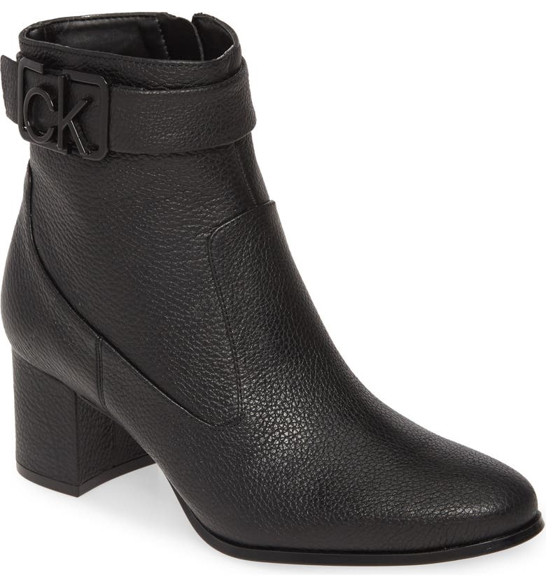 CALVIN KLEIN Freema Bootie, Main, color, BLACK LEATHER