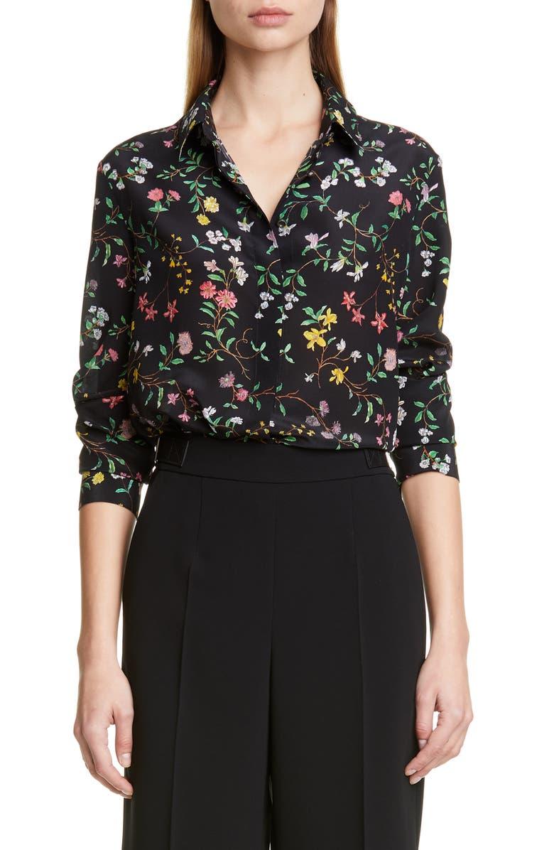 ALTUZARRA Floral Print Silk Shirt, Main, color, BLACK