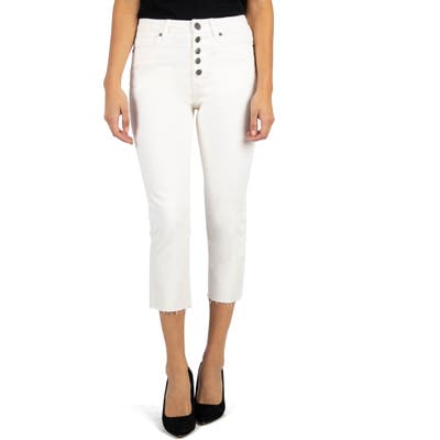 Kut From The Kloth Kelsey High Waist Raw Hem Crop Straight Leg Jeans, Ivory
