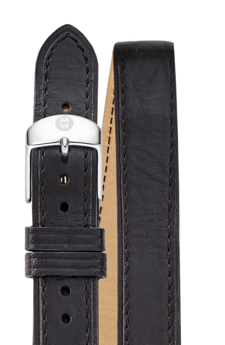 MICHELE 18mm Double Wrap Leather Strap Watch, Main, color, BLACK