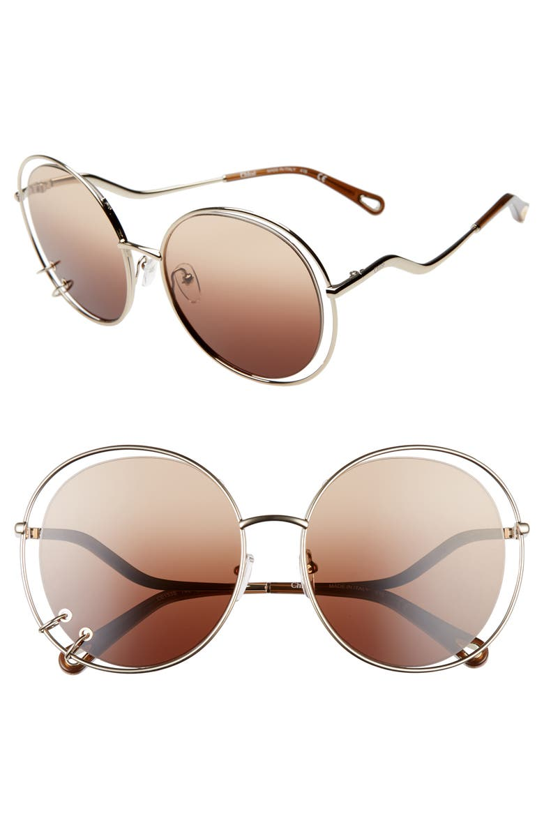 CHLOÉ Wendy 59mm Round Sunglasses, Main, color, GOLD/ GRADIENT BROWN