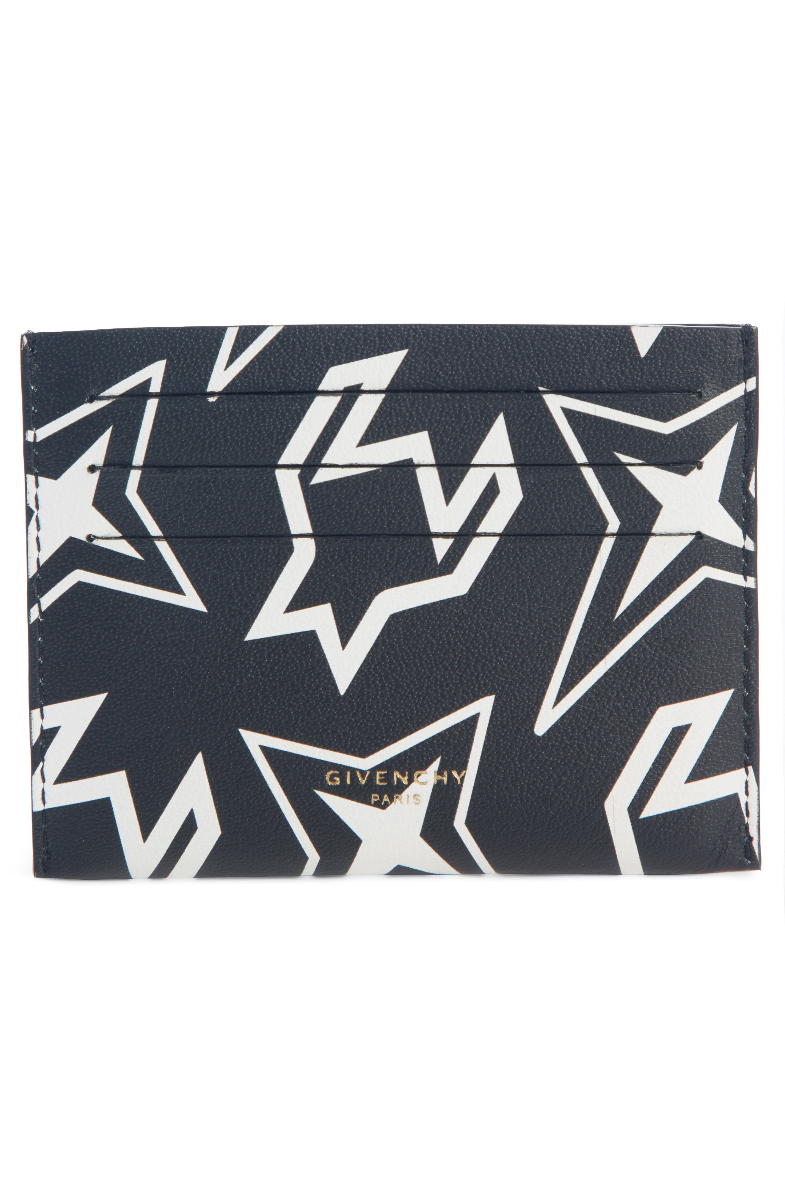 ,                             Cosmic Star Print Leather Card Case,                             Alternate thumbnail 2, color,                             BLACK/ WHITE
