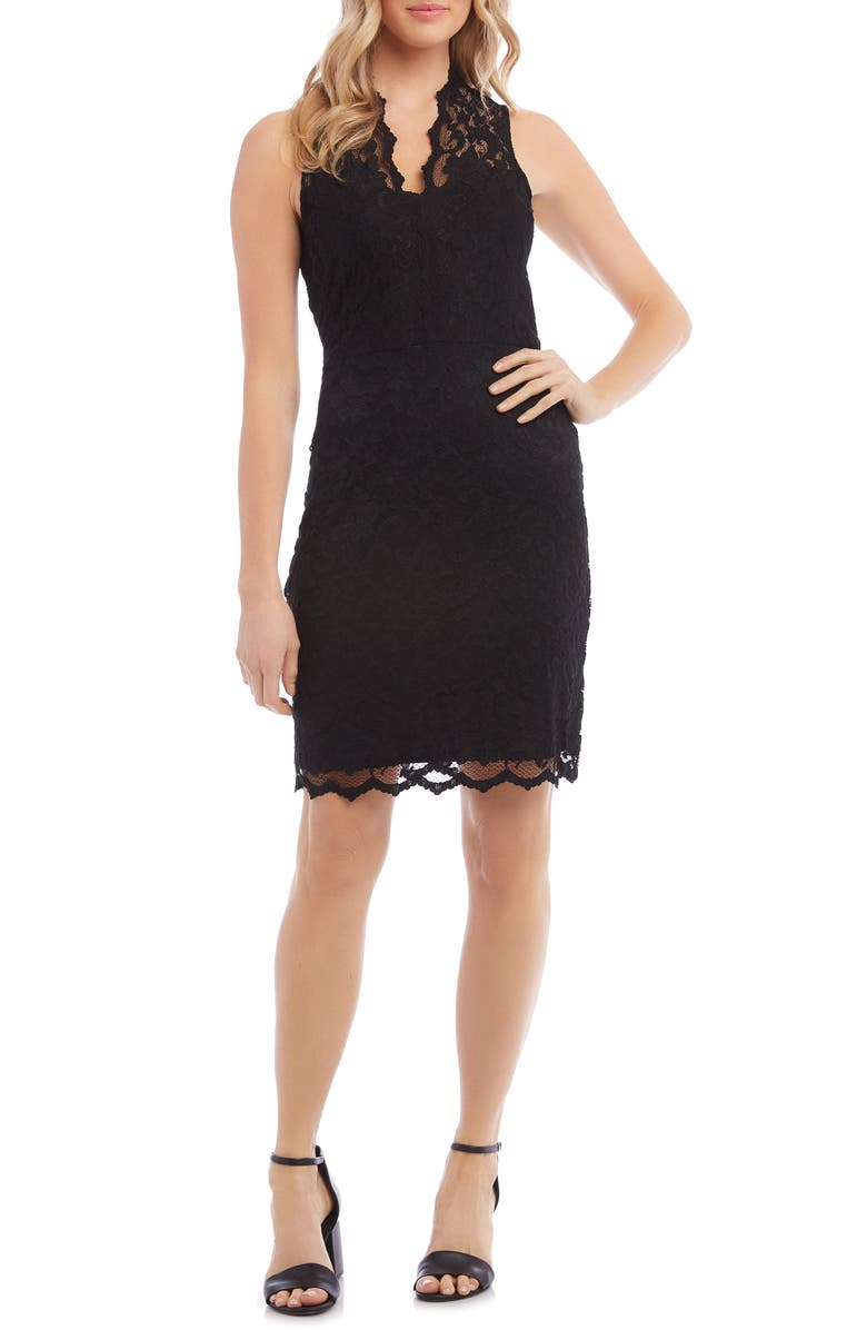 KAREN KANE Lace Cocktail Dress, Main, color, BLACK WITH BLACK