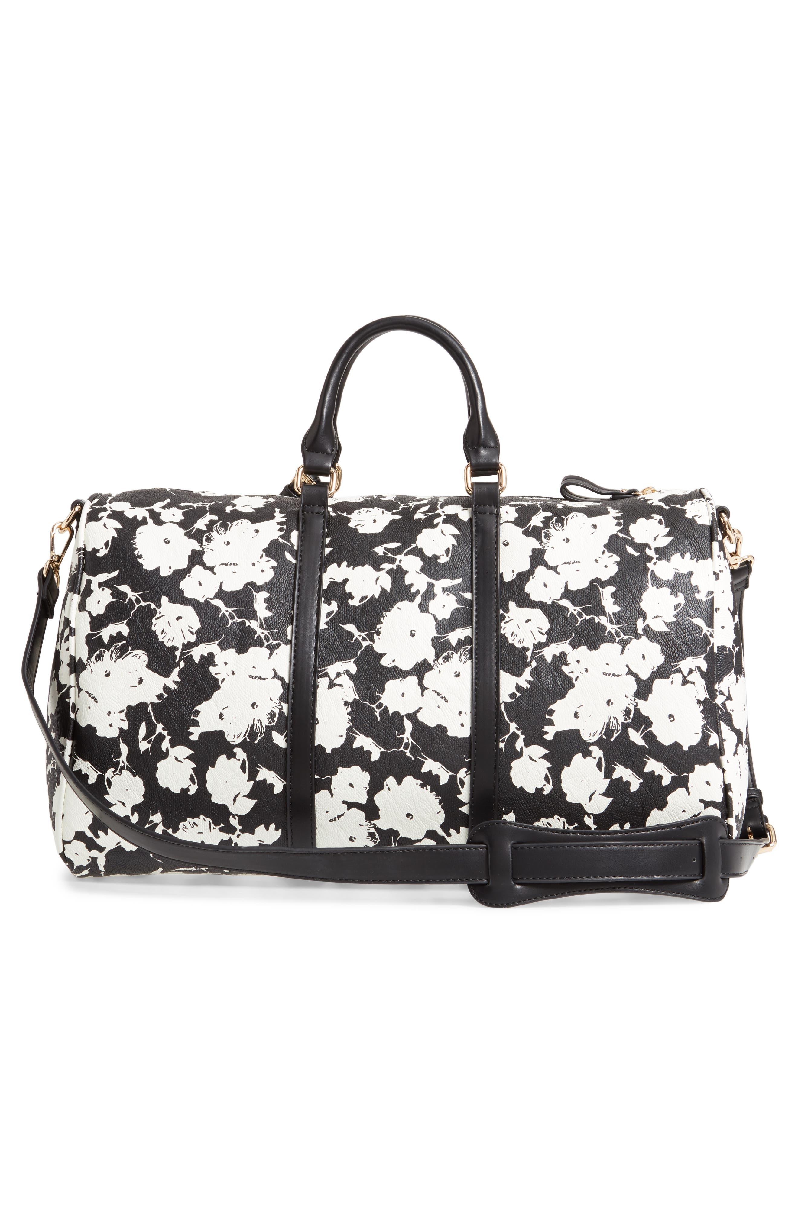 ,                             Cassidy Faux Leather Duffle Bag,                             Alternate thumbnail 3, color,                             BLACK FLORAL