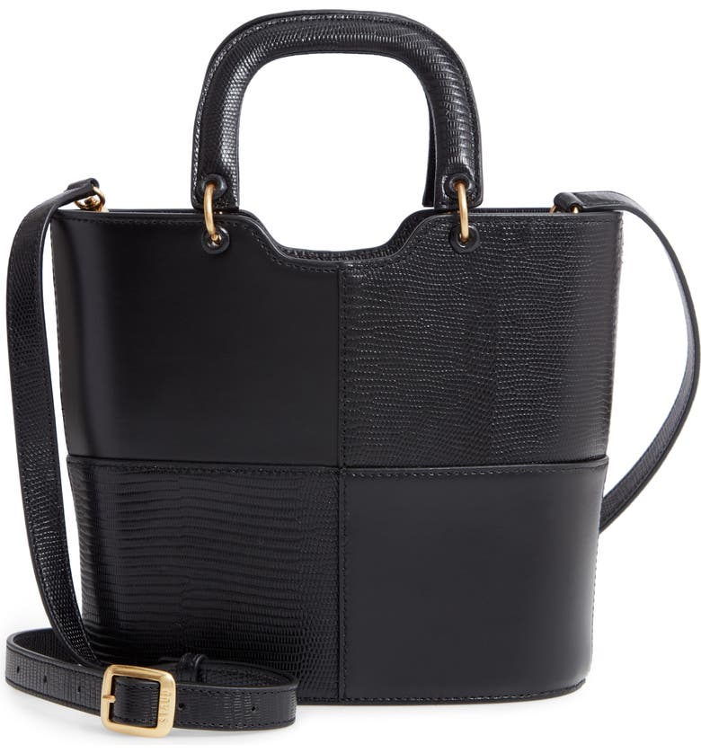 STAUD Andy Embossed Leather Satchel, Main, color, BLACK