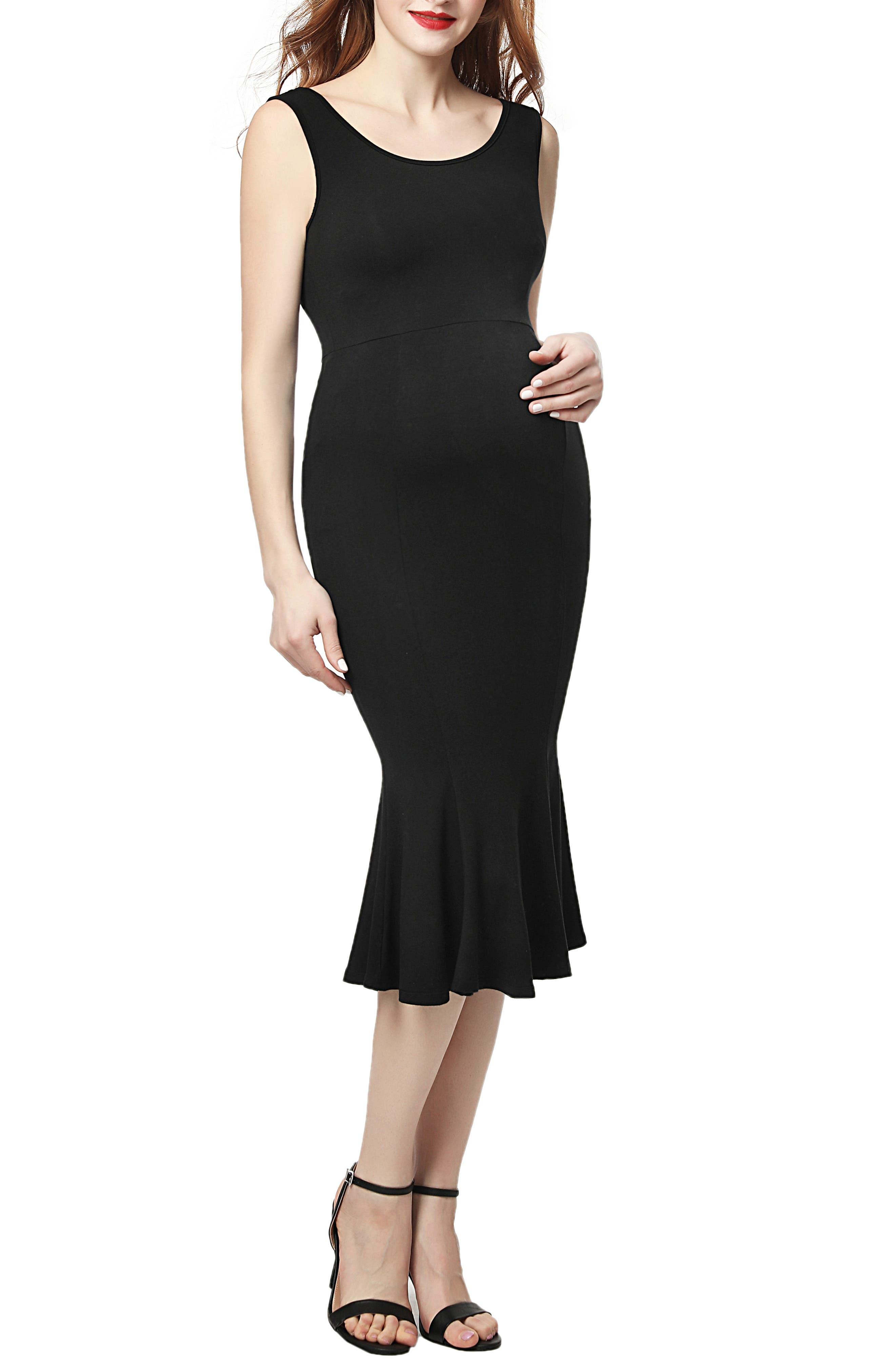 Kimi And Kai Bria Maternity Mermaid Midi Dress, Black