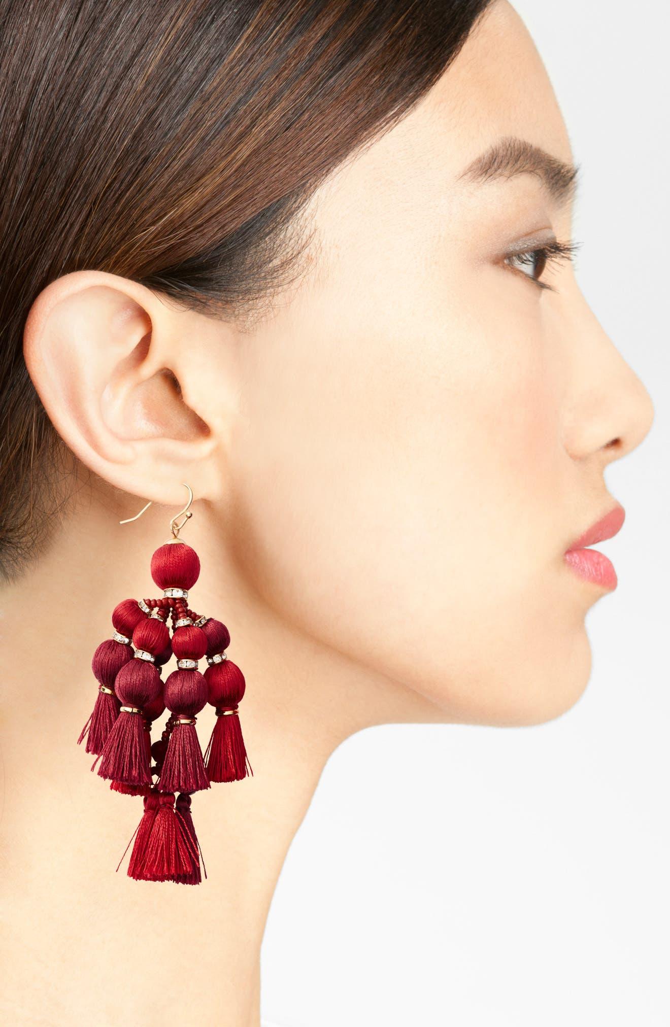 ,                             pretty pom tassel drop earrings,                             Alternate thumbnail 11, color,                             930